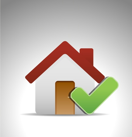 home icon with green mark Vector