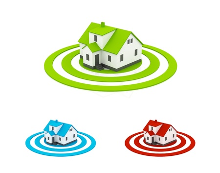 illustration of a house in the center of a target, three different colors illustration