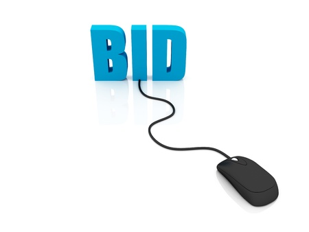 3D rendering of the word BID connected to a computer mouse photo