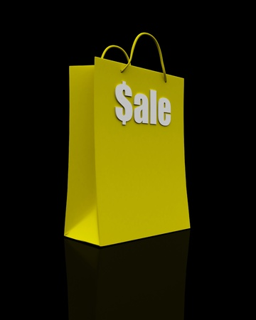 Sale shopping bag, yellow isolated on black photo