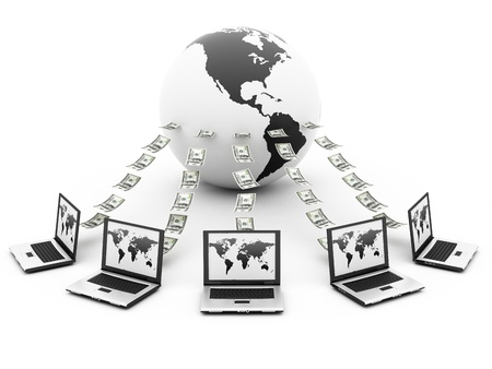 world with labtops sending money photo