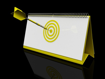 target date, isolated on black, Yellow color photo