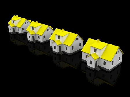 four houses, yellow color black background photo