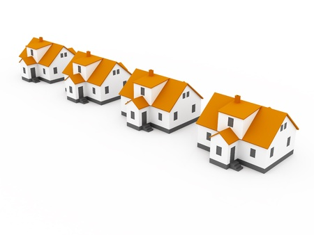 four houses, orange color white background photo