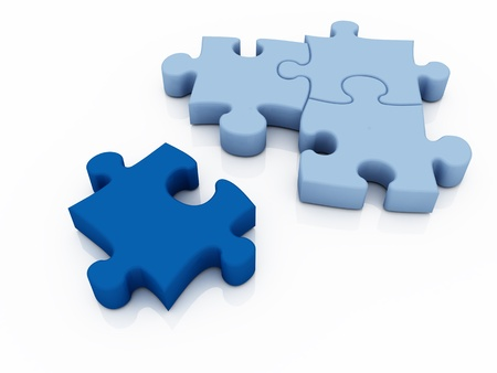 group solution: puzzle in pieces over a white background