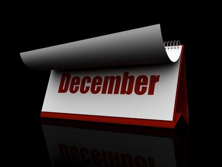 Red Calendar, December  red color, black background Stock Photo - 12727698