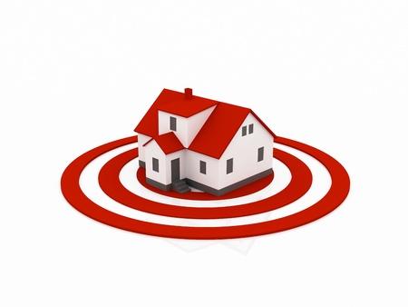 housing search: illustrazione di una casa nel centro di un bersaglio rosso