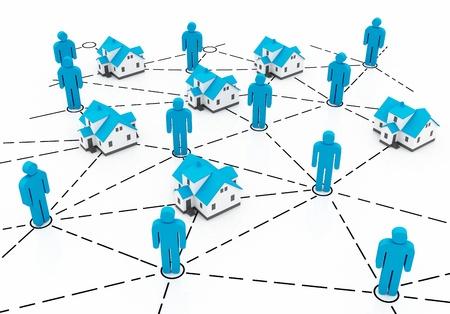 Real Estate Market, blue network Stock Photo - 12902466