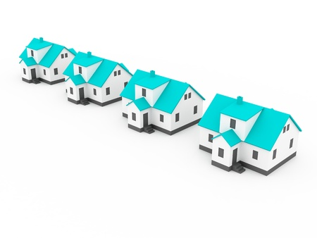 four houses, blue color white background photo
