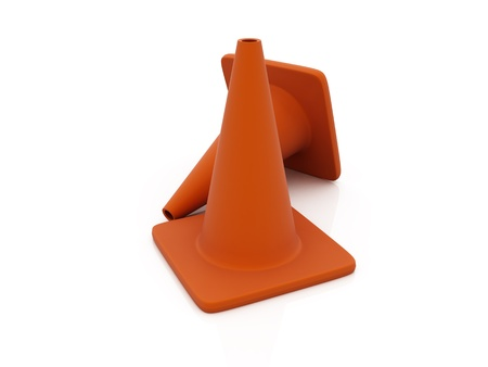 Traffic cones over white reflective background Stock Photo - 12902311