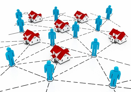 Real Estate Market, blue and red house network photo