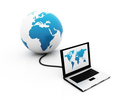 The world in a click - Global communications - over a white background photo