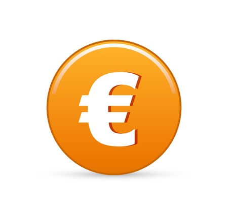euro button, vector euro sign icon Illustration