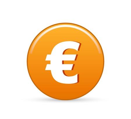 euro teken: euro-knop, vector euro teken pictogram Stock Illustratie