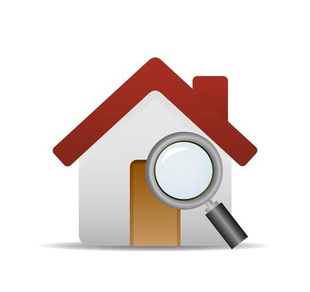 search icon: home knop met zoeken pictogram, vector pictogram Stock Illustratie