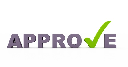 3D approve with check mark Stock Photo - 13261736