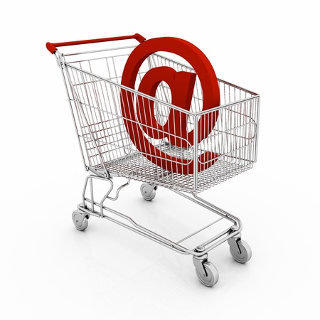one shopping cart, concept of shopping with internet sign  3d render  photo