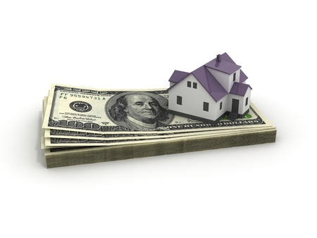 mortgaging: House with money over white background - mortgaging concept, real estate, sale