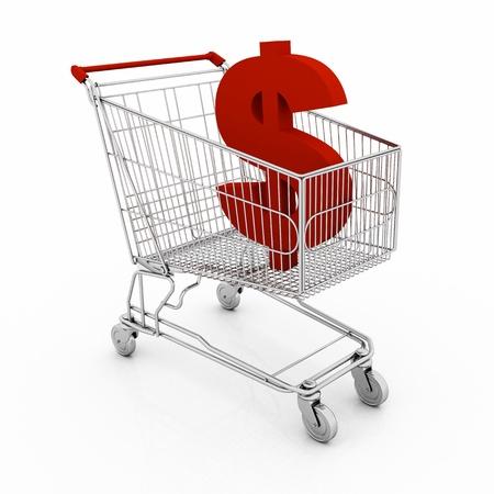 carretilla de mano: venta de carro de compras con signo de d�lar