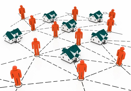 residential market: Real Estate Market, blue and red house network