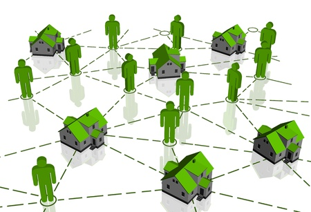 Real Estate Market, green house network  Vector