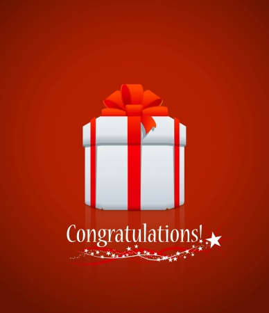 White gift box with congratulations on red background
