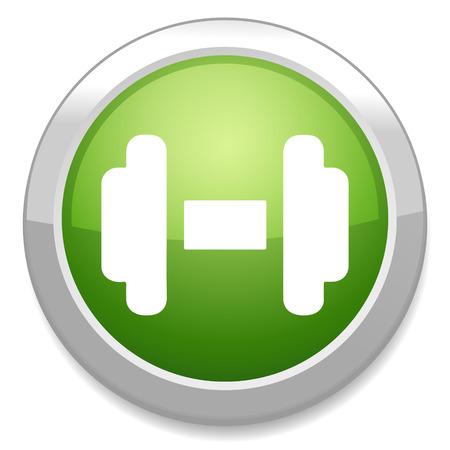 dumbell: Bilanciere icona segno. Pulsante di sollevamento muscolare.
