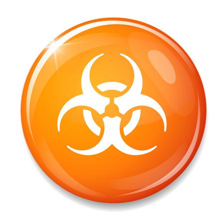hazardous waste: Biohazard icona segno. Pulsante Danger