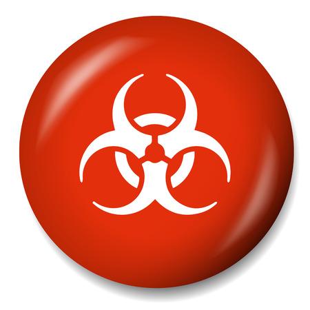 hazardous waste: Biohazard sign icon. Danger button