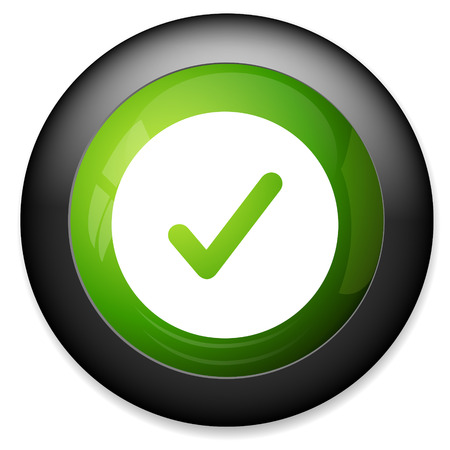 right choice: Check mark icon. Yes circle button. Confirm and approved symbol.
