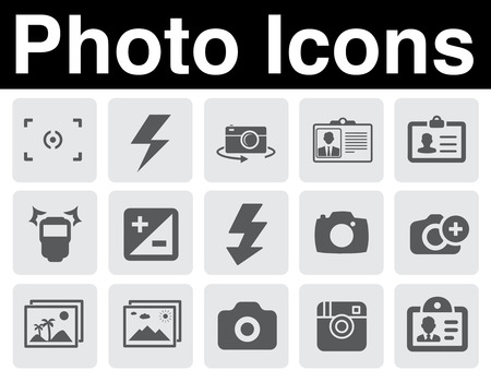 Photo icons set Vector