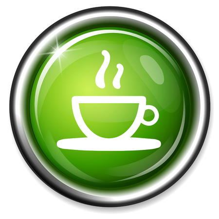 coffee: Coffee icon. Hot coffee button Illustration