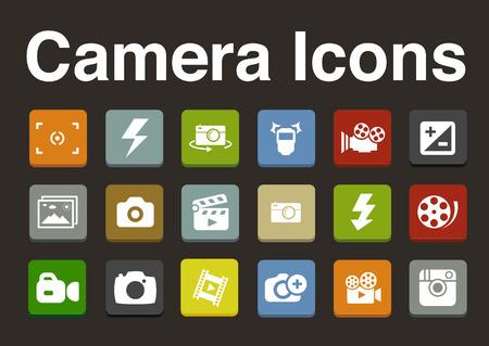 camera icons set Vector