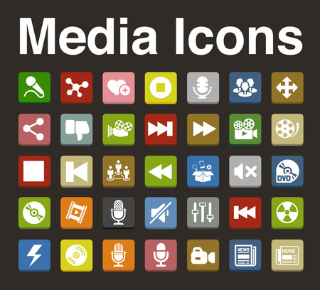 media icons set Vector
