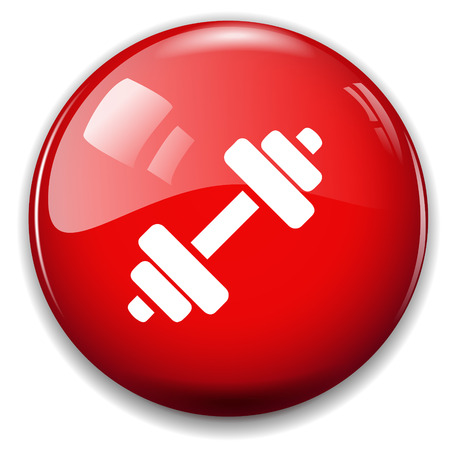 dumbell: Bilanciere icona segno. Pulsante sollevamento muscolare.
