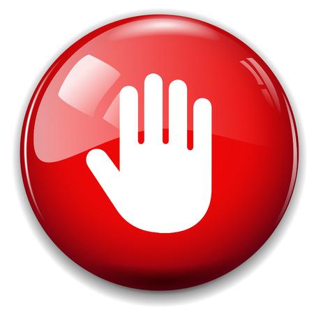 icon buttons: se�al de stop icono. bot�n de la mano Vectores