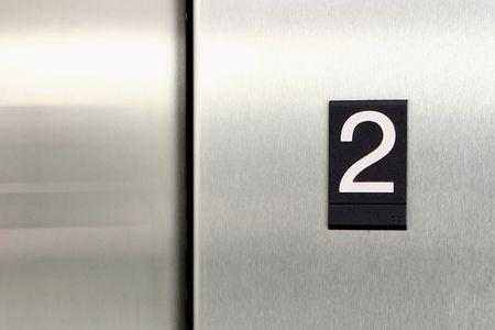 elevator floor number 2 Stock Photo