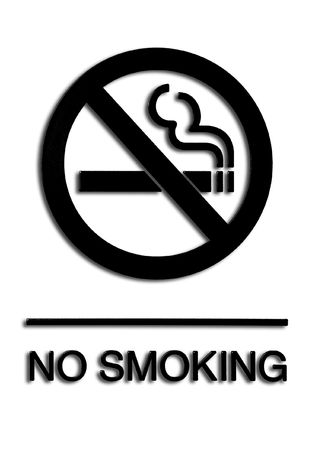 tobacco: black and white no smoking sign with a drop shadow