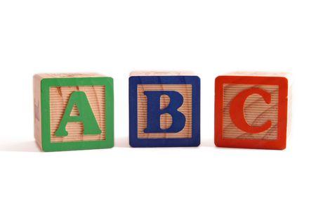ABC wooden blocked lined up horizontally.
