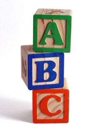 vertically: ABC wooden blocks stacked vertically.