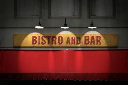 Bistro and bar sign with three spotlights. Фото со стока - 605375