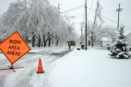 condition: Road closed after an ice storm