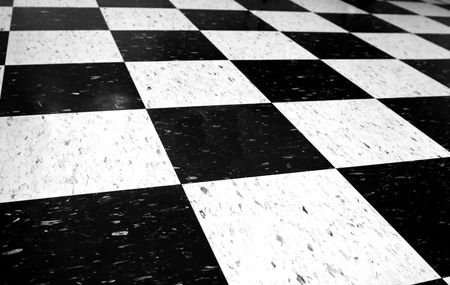 Black and white checkered floor.