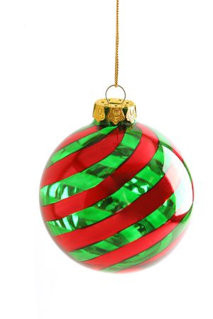 round: red and green swirl round Christmas ornament centered