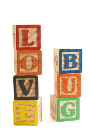 Wooden blocks stacked vertically, spelling Stock fotó