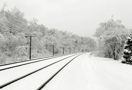 Winter scene with train tracks and snow-covered trees.