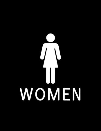bathroom sign: black and white bathroom sign for women Stock Photo