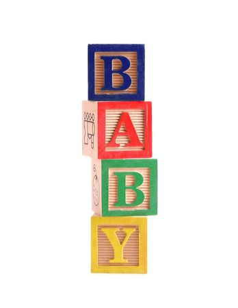 Multi-colored wooden blocks spelling the word Фото со стока