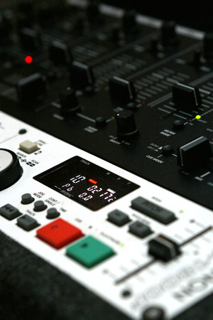 soundboard: vertically aligned picture of soundboard with shallow DOF Stock Photo