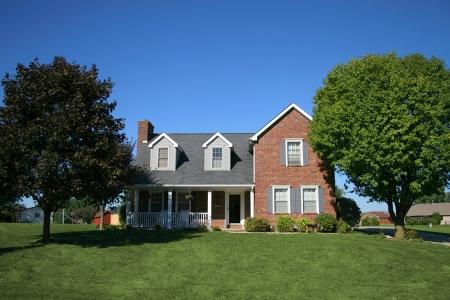 Nice two story brick home in suburb. Фото со стока
